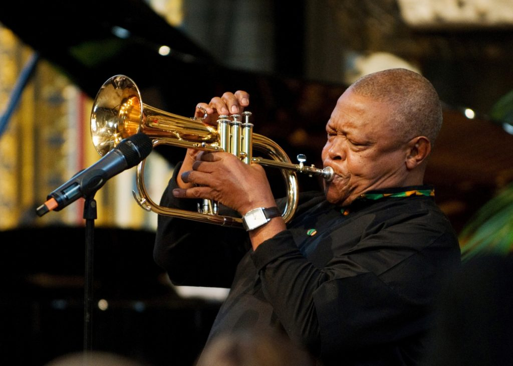 South African jazz musician Hugh Masekela performs during the Observance for Commonwealth Day service at Westminster Abbey in central London in 2012. A family statement issued on Tuesday, said the 78-year-old South African jazz musician and anti-apartheid activist diedin Johannesburg after a lengthy battle against prostate cancer.