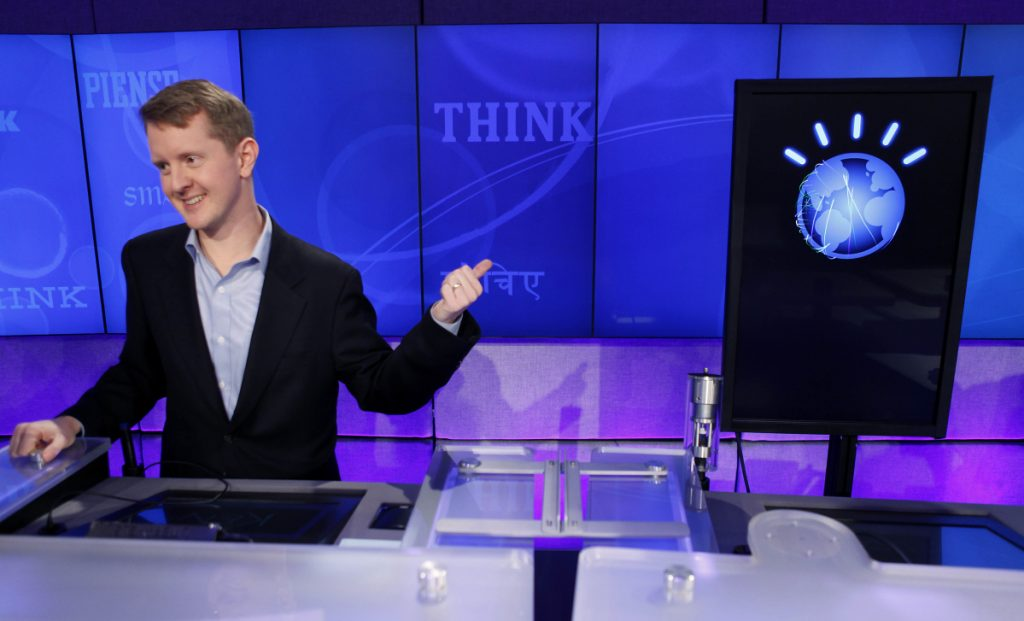 "The tech industry has pumped a lot of resources into machine learning since an IBM computer called ""Watson,"" right, bested record-setting ""Jeopardy!"" champion Ken Jennings, left, in a 2011 competition."