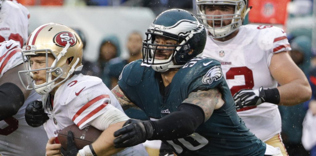 Defensive end Chris Long, has been a terror for the Eagles this season – just ask 49ers quarterback C.J. Beathard.