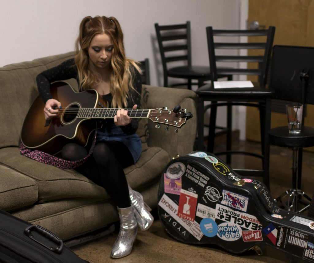 Maine native Kalie Shorr backstage at the Listening Room Cafe in Nashville on Jan. 22.