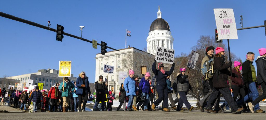 Marchers cross State Street at the beginning of the Women's March 2.0 on Jan. 20 in Augusta. The Maine Sunday Telegram's report on the march was inaccurate, a letter writer says.