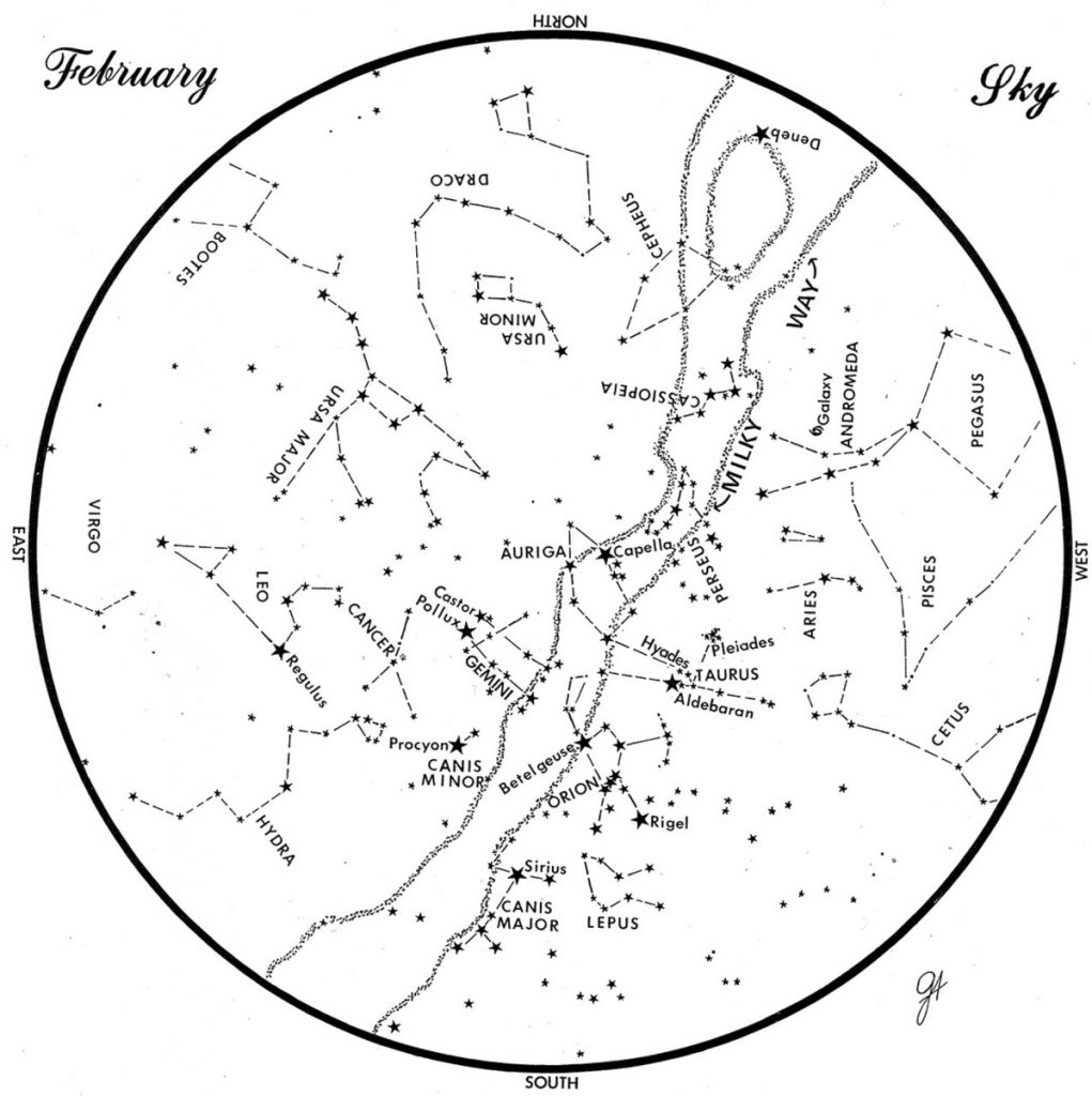 SKY GUIDE: This chart represents the sky as it appears over Maine during February. The stars are shown as they appear at 9:30 p.m. early in the month, at 8:30 p.m. at midmonth and at 7:30 p.m. at month's end. No planets are visible at chart times. To use the map, hold it vertically and turn it so that the direction you are facing is at the bottom.