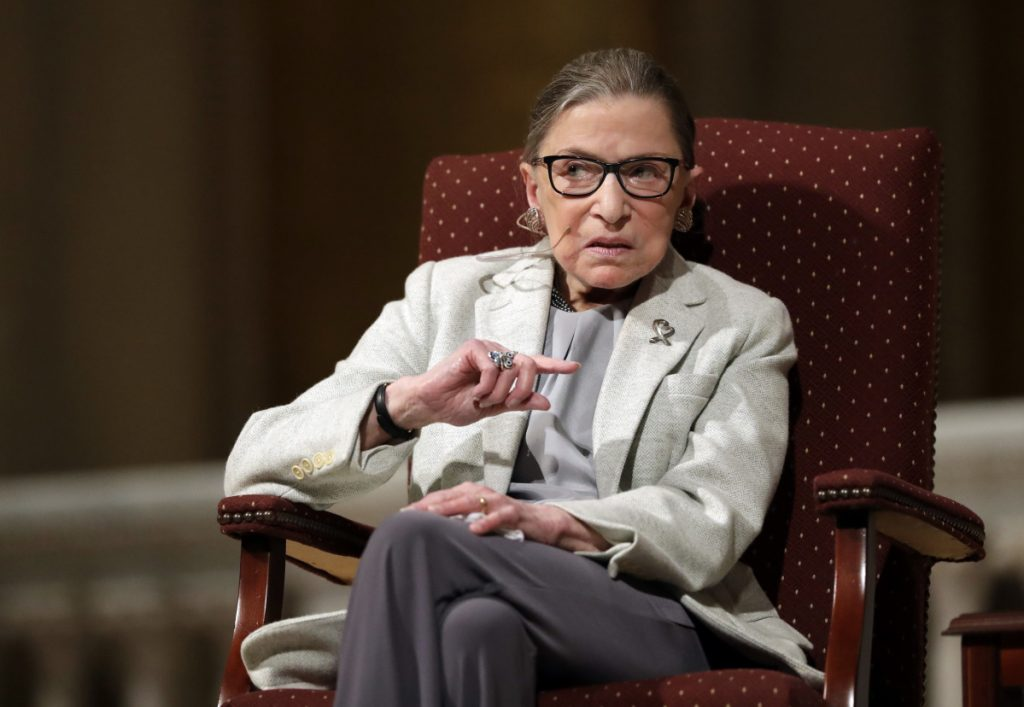 Supreme Court Justice Ruth Bader Ginsburg speaks at Stanford University in California. In different circumstances, Ginsburg might be on a valedictory tour in her final months on the Supreme Court. But in the era of Donald Trump, the 84-year-old Ginsburg is packing her schedule and sending signals she intends to keep her seat on the bench for years.