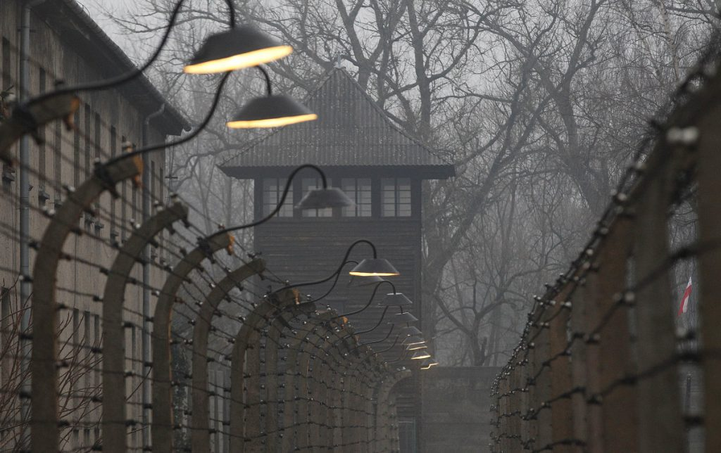 Barbed wire fences are pictured at Auschwitz.