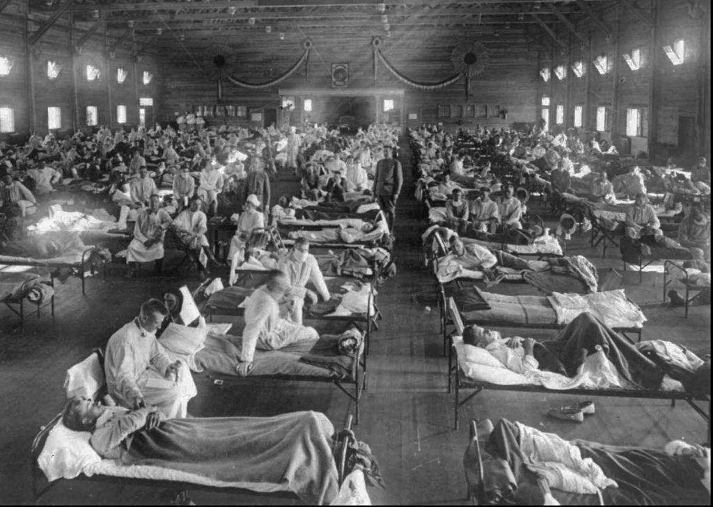 Influenza victims crowd an emergency hospital near Fort Riley, Kan., in 1918. The 1918 Spanish flu pandemic killed at least 50 million people worldwide and officials say that if the next pandemic resemblers it, 1.9 million Americans could die.