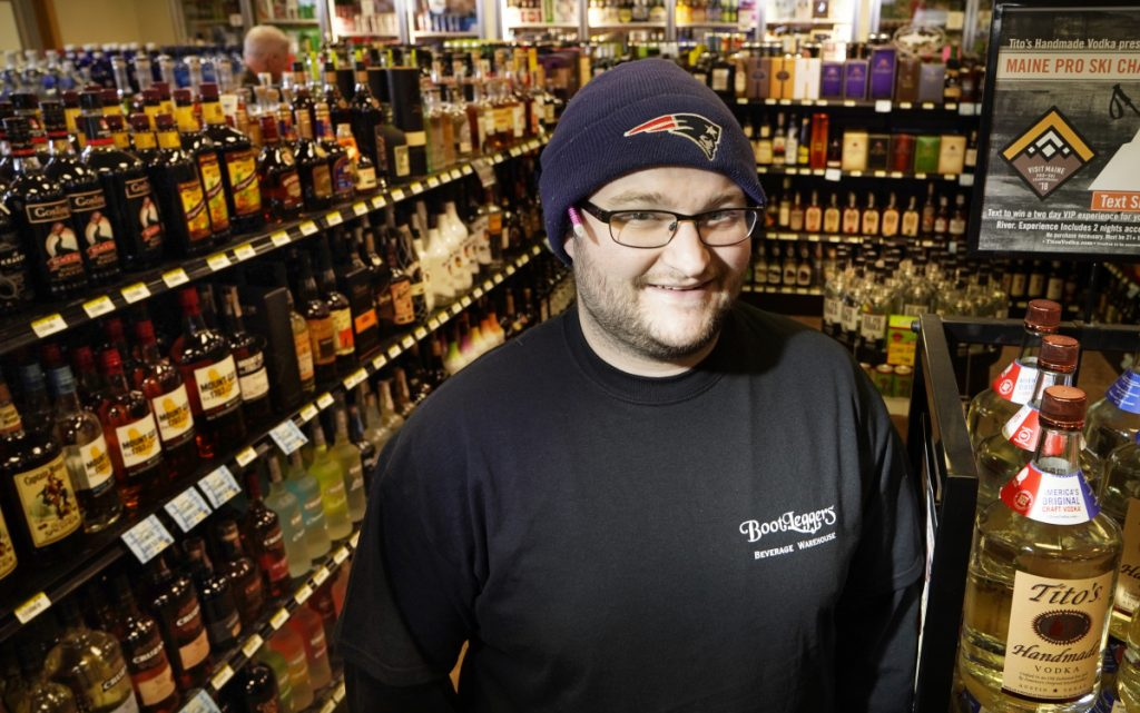 Carl Baade, assistant manager at Bootleggers Beverage Warehouse and Redemption in Topsham, says Fireball Cinnamon Whisky nips were their top-selling product last year.