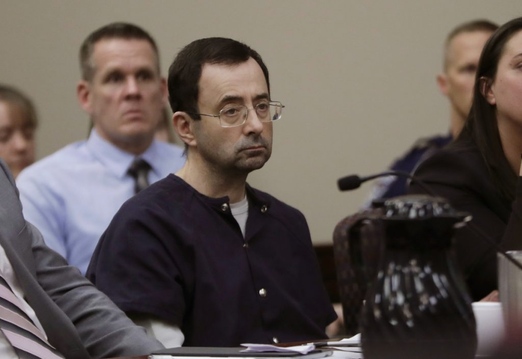 Larry Nassar attends his sentencing hearing Jan. 24 in Lansing, Mich.