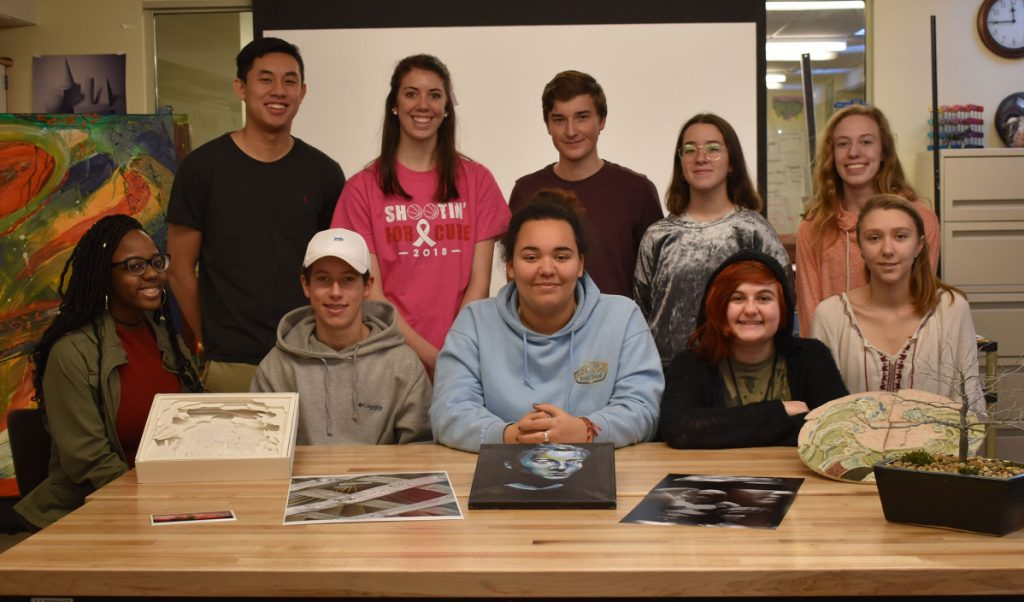 Eleven Wells High School students recently placed in various categories in the 2018 Regional Scholastic Art and Writing Awards competition sponsored by the Maine College of Art in Portland. They include, back row, from left: Channing Wang, Megan Schneider, John Keniston, Sara Del Rio Vazquez, and Lauren Dow. Front row from left: Brianna Christie, Paul Ersing, Alexandra Chase, Raven Goodell and Claudia Davis-Meggs. Not pictured is Nick Maynard.