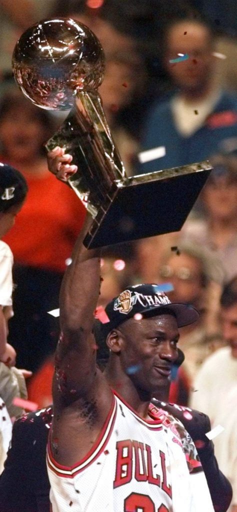 Of note: Jordan retired in 1993 after three straight titles, returned in '94 and won three more titles.