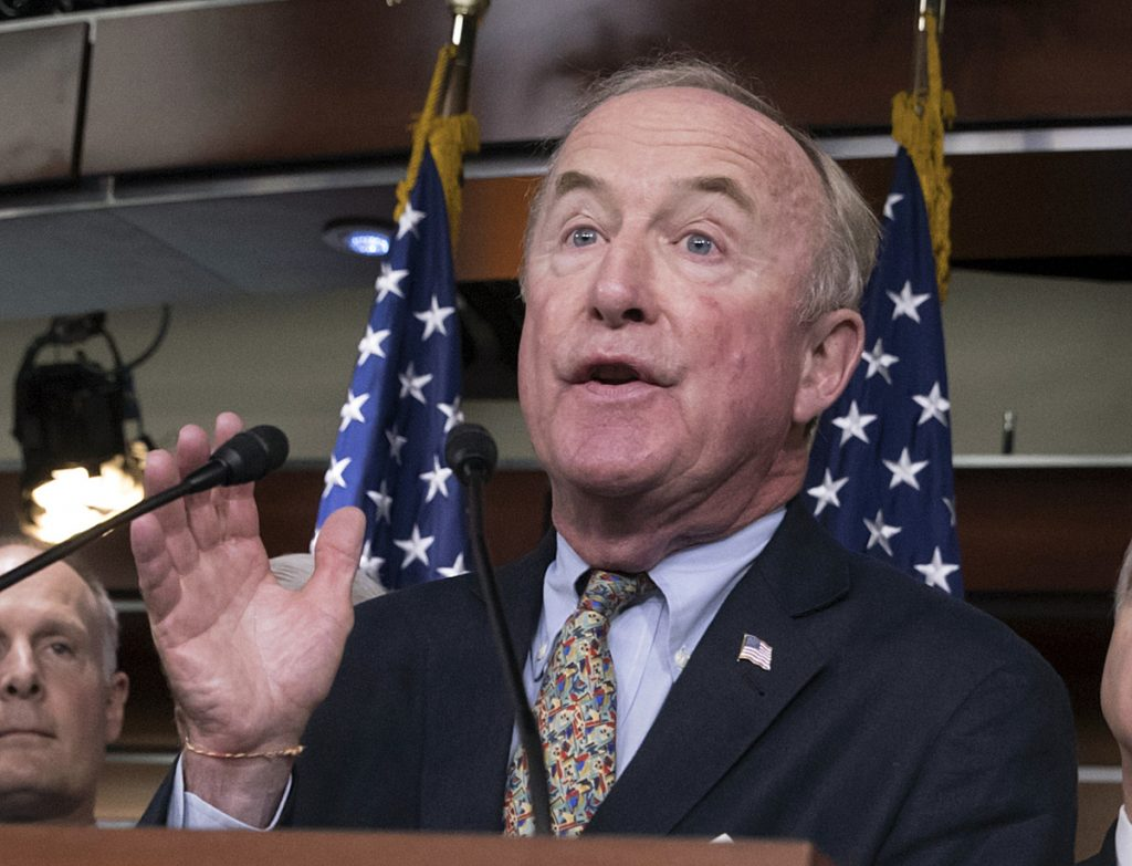 Rep. Rodney Frelinghuysen, R-N.J., chairman of the House Appropriations Committee, center,  speaks at the Capitol in Washington. Frelinghuysen has announced he will not seek re-election.  The New Jersey Republican was facing his first competitive re-election race in decades and joins a growing roster of GOP veterans who are declining to run in 2018.