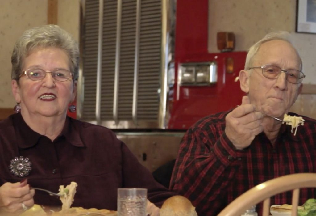 "In outtakes from filming a Dysart's ad, Jack and Sonya Palmer repeatedly flubbed the words ""buttery, flaky crust"" – sometimes getting agitated – but ended up with many YouTube fans."