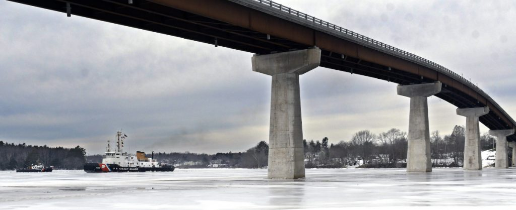 The Coast Guard's icebreaker Penobscot Bay met challenging ice conditions when it arrived Sunday at the bridge spanning the Kennebec River between Richmond and Dresden.
