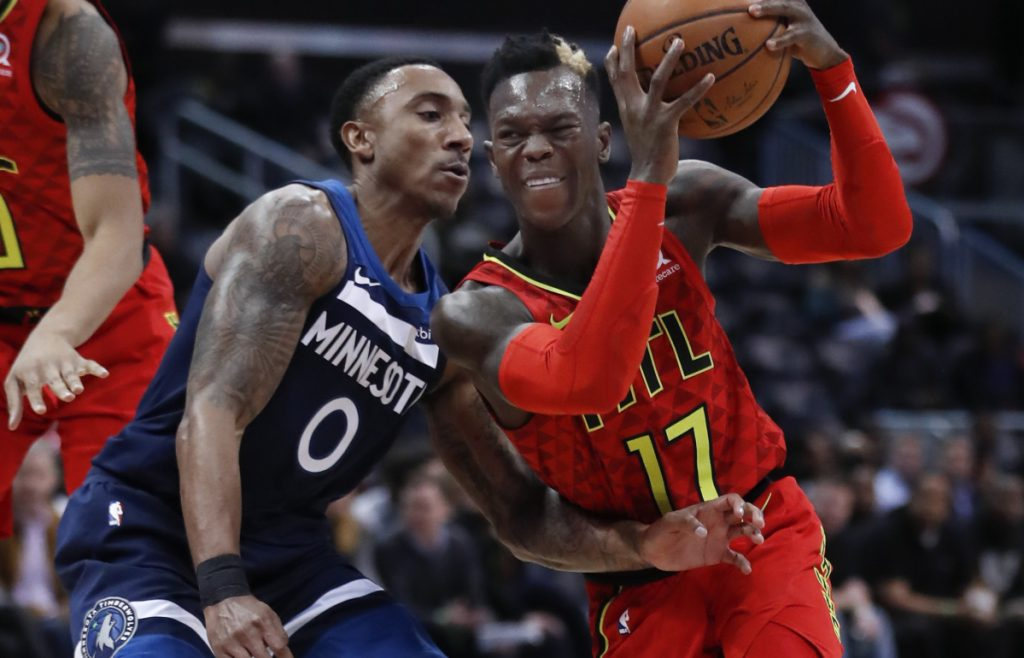 Atlanta guard Dennis Schroder drives against Minnesota guard Jeff Teague during the Hawks' 105-100 win Monday in Atlanta.