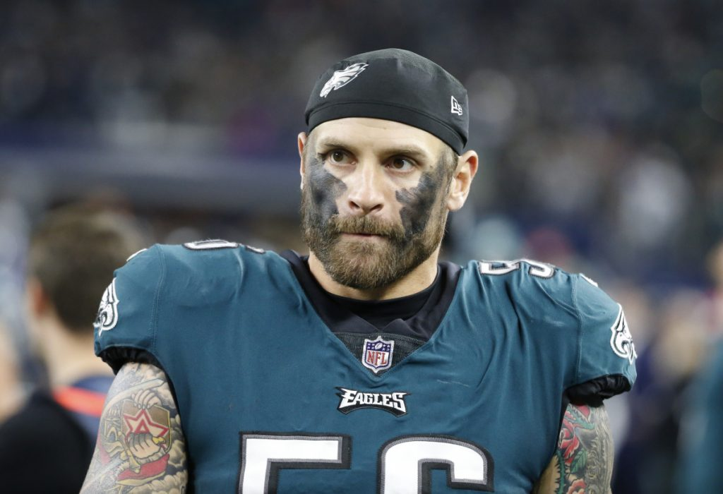 Philadelphia Eagles defensive end Chris Long (56) walks on the sidleline during an NFL football game against the Dallas Cowboys, Sunday, Nov. 19, 2017, in Arlington, Texas. (AP Photo/Michael Ainsworth)
