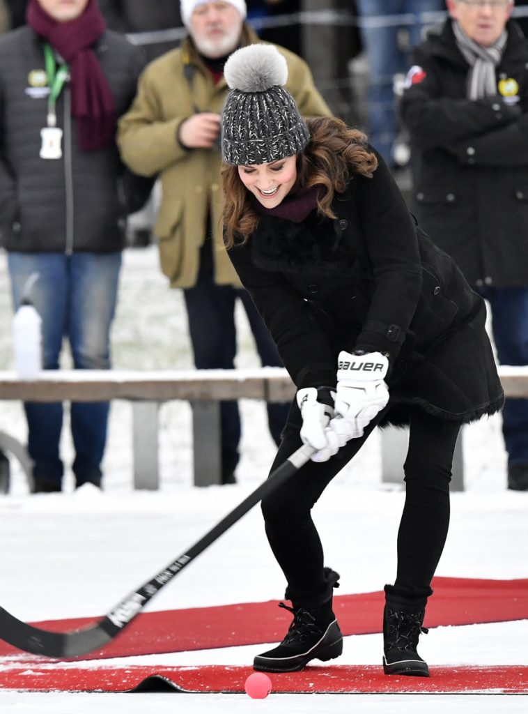 Britain's Prince William and Kate, Duchess of Cambridge, tried bandy, a popular Swedish sport similar to ice hockey, during their visit on Tuesday.