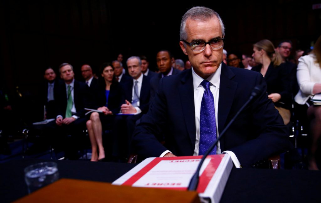 Former acting FBI Director Andrew McCabe on Capitol Hill last year. He is the focus of an inspector general investigation.