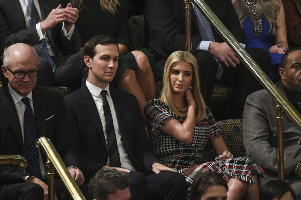 Jared Kushner and Ivanka Trump listen to the State of the Union speech at the Capitol on Tuesday. Washington Post photo by Jabin Botsford