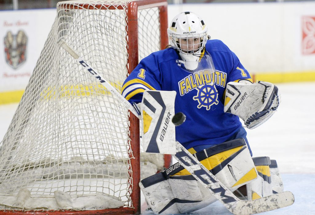 Falmouth goalie Julia Bonnvie makes a save in Friday's game. Bonnvie made 32 saves in a 3-3 tie.