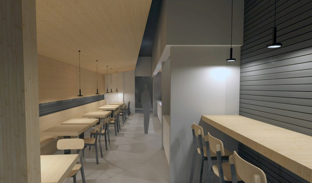 The interior of the Poke Pop restaurant will  include bamboo tables, counters and wall and ceiling elements, a porcelain tile floor and pendant lights, according to the architect's website.