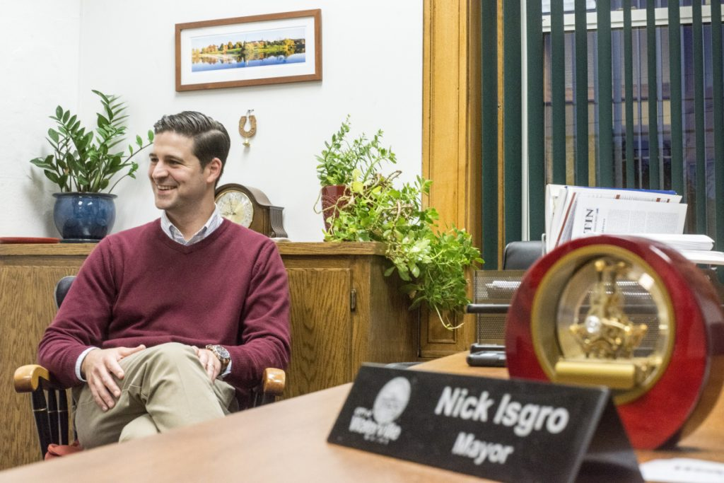 Mayor Nick Isgro at the Waterville City Hall in 2017.