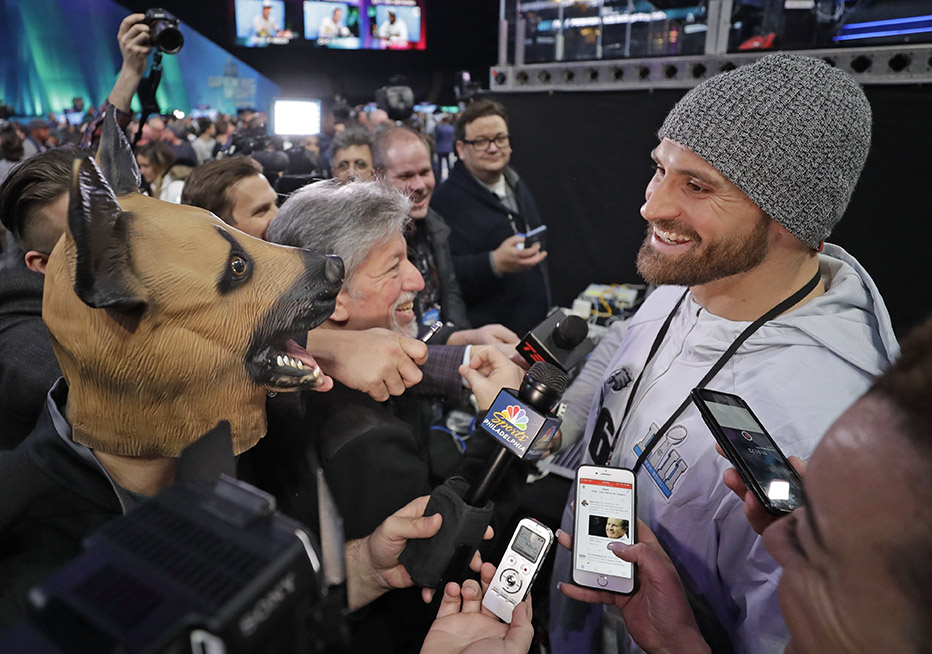 Eagles defensive end Chris Long is interviewed during Super Bowl 52 Opening Night Monday at the Xcel Center in St. Paul, Minnesota.