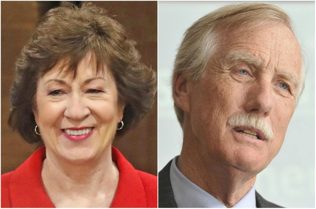 Sens. Susan Collins, a Republican, and Angus King, an independent
