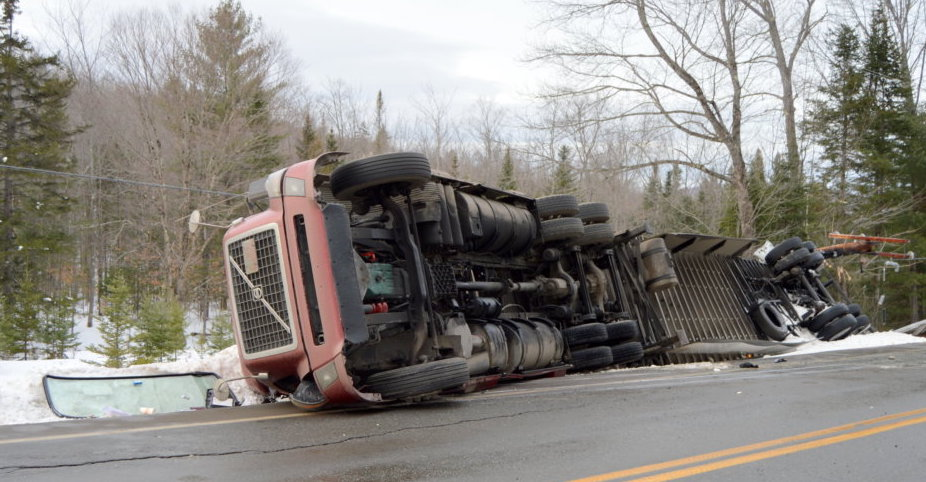 The driver was not injured Thursday afternoon when his tractor-trailer went off the road and rolled over on Route 27 in New Vineyard.