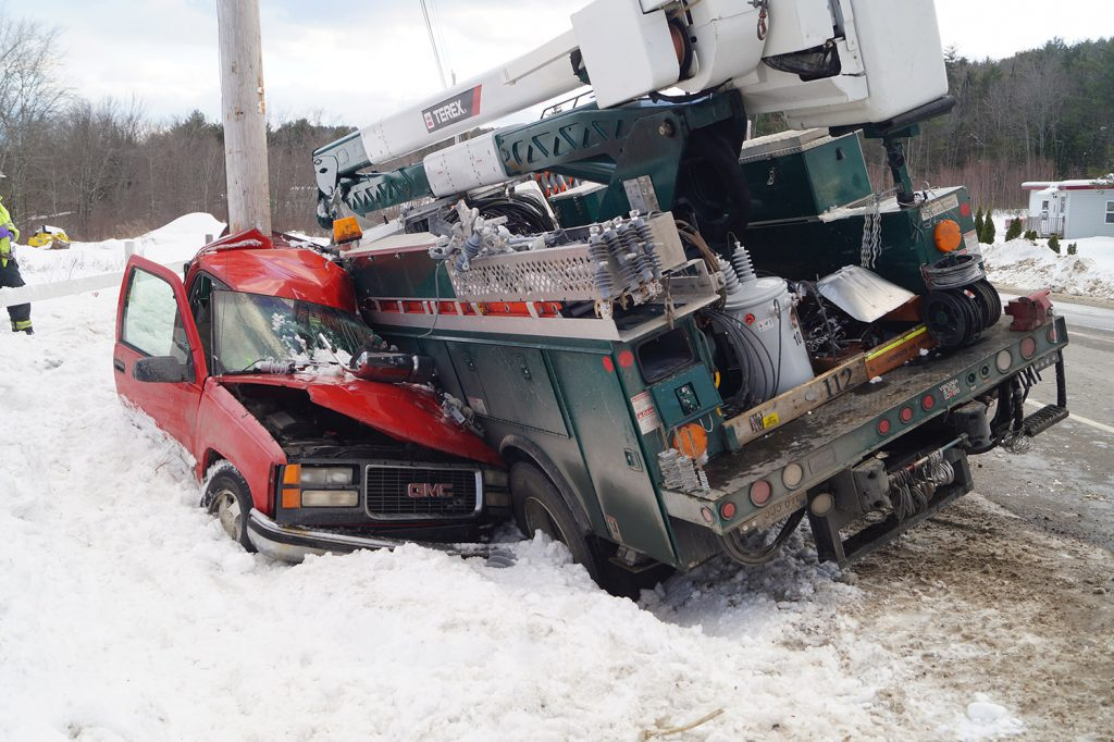 A pickup truck driven by Robert Sanborn, 38, of Paris was crushed by a Target Utility Services bucket truck on Route 117 in Norway on Tuesday. Sanborn was taken to a hospital with a head laceration, according to police.