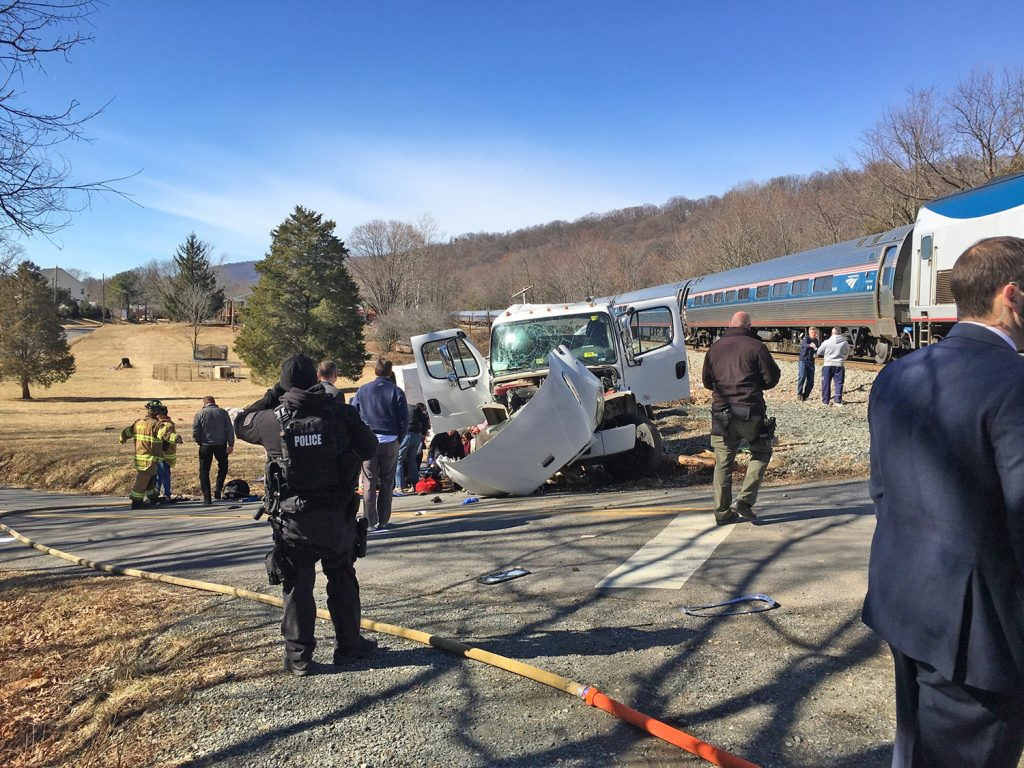 U.S. Rep. Bruce Poliquin, R-2nd District, was among the members of Congress aboard this Amtrak train when it collided with a tractor-trailer truck in West Virginia on Wednesday. The congressman was not seriously injured.