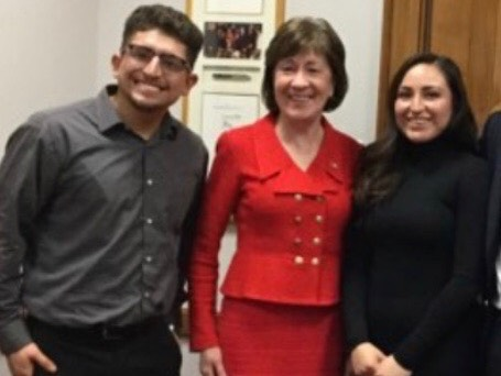 Sen. Susan Collins, center, meets with DACA beneficiary Christian Castaneda, left, of Portland in Washington, D.C., on Tuesday. The woman at right is also a