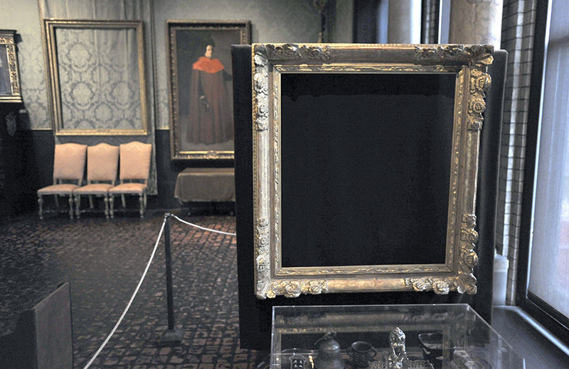 Empty frames from which thieves took a Rembrandt and a Vermeer, remain on display at the Isabella Stewart Gardner Museum as shown in this 2010 photo.