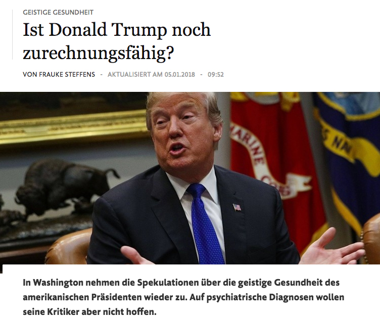 Frankfurter Allgemeine Zeitung's story on Trump on its website.