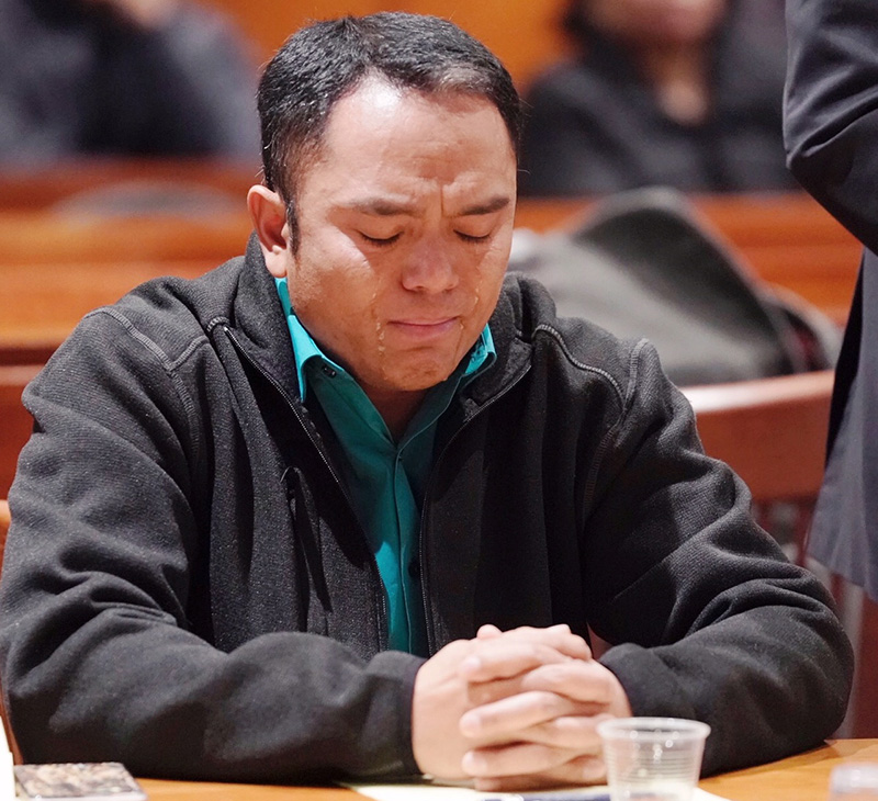 Tears run down the face of Anthony Leng as a phone call he made from jail to his youngest son, with whom he was not supposed to have contact with, is recounted during his probable cause hearing at Cumberland County Courthouse on Friday.