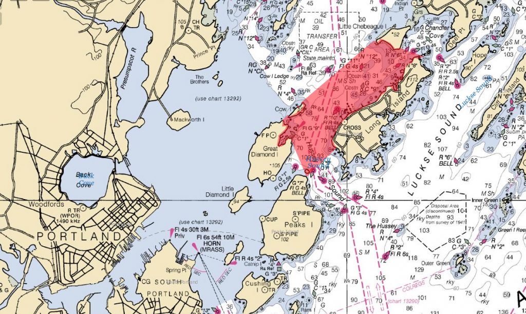 The Maine Department of Marine Resources has closed the area shaded in red to scallop fishing to conserve the population.