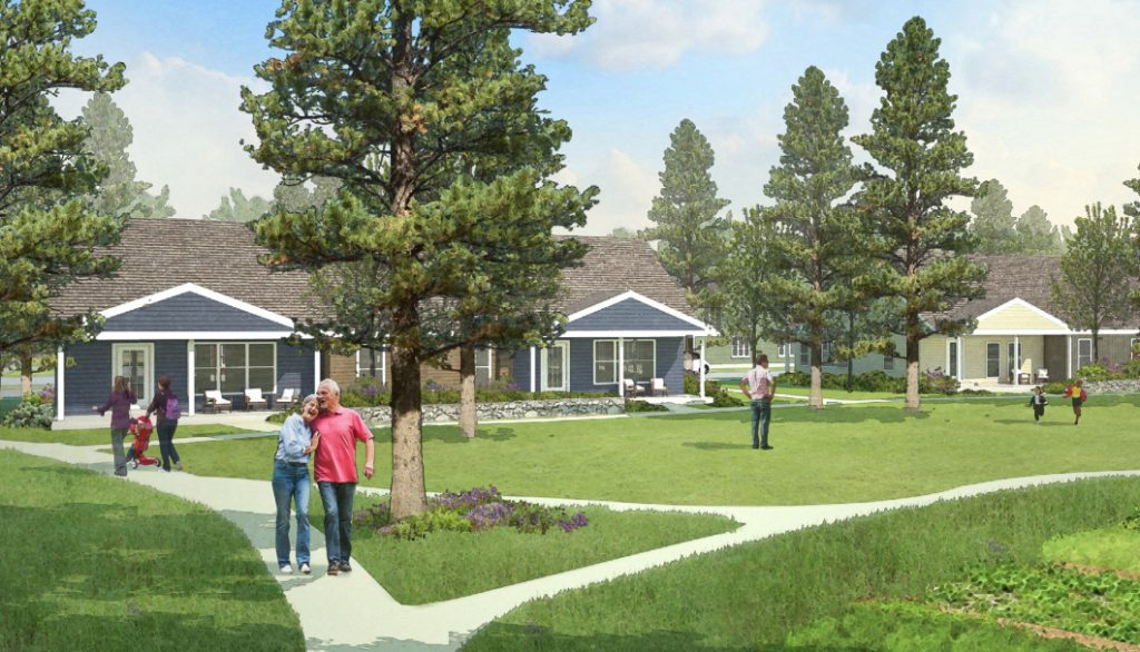 Artist's concept of 2- and 3-family houses in the proposed Tuttle Road Moderate Income, Multi-generational Neighborhood development.