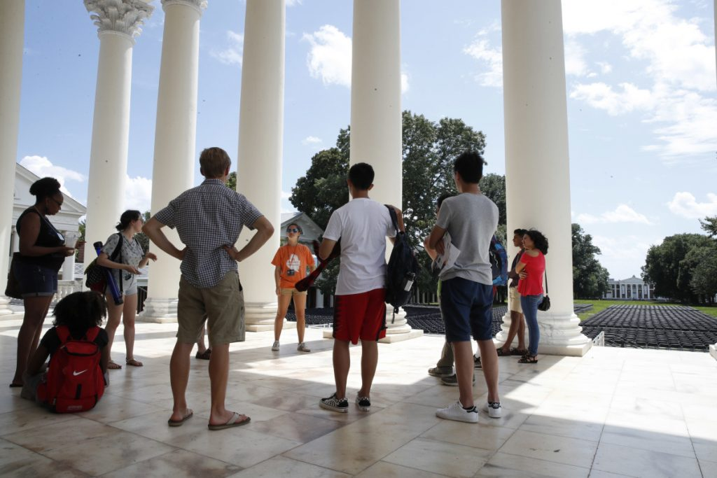 First-year students tour the University of Virginia in Charlottesville, Virginia, in August 2017, a week after a white nationalist rally took place on campus.