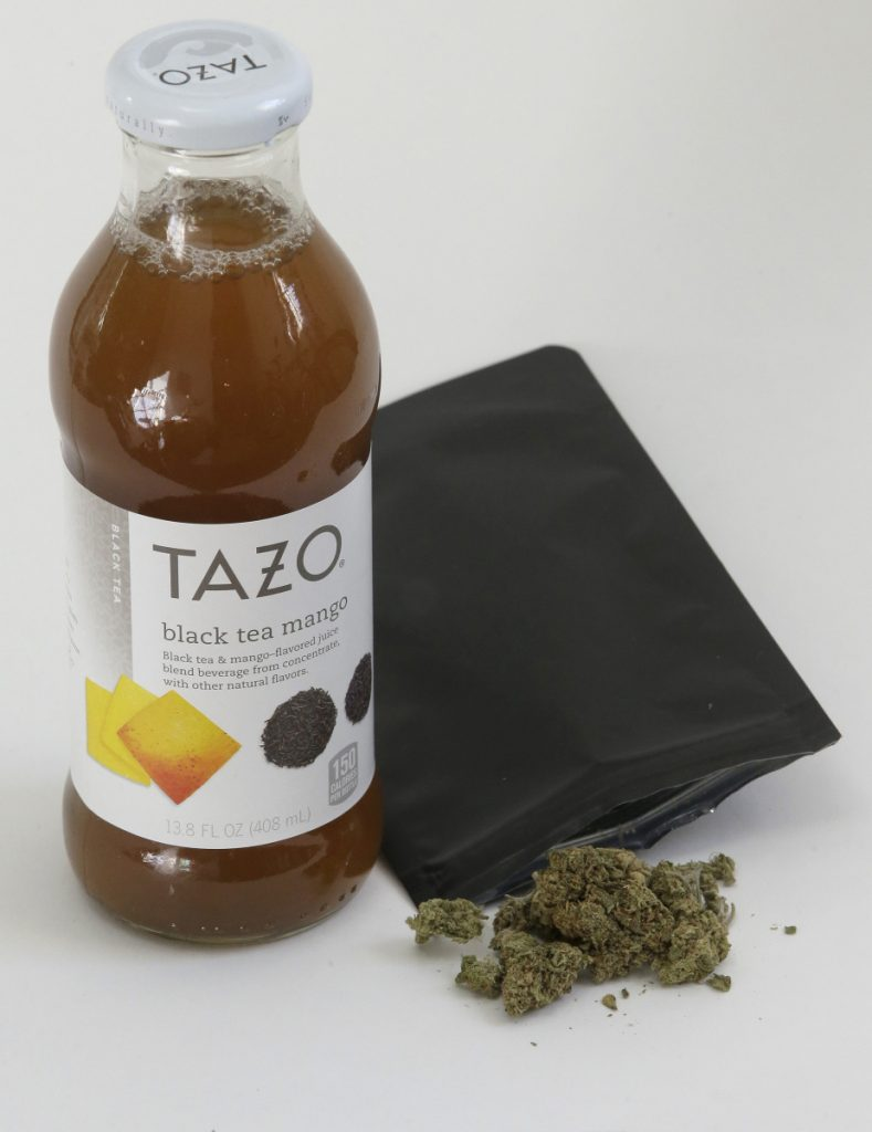 "This bottle of Tazo juice cost $60 and came with a ""gift"" of an eighth of an ounce of marijuana."