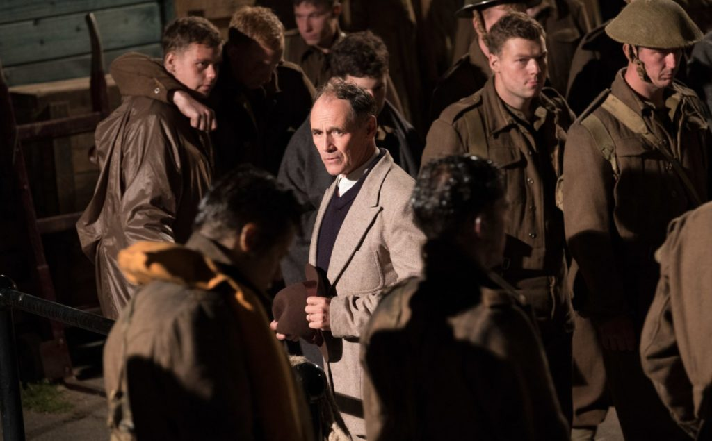 "Mark Rylance in ""Dunkirk,"" which tells the story of ordinary British citizens and a fleet of small private boats rescuing thousands of British troops from advancing German forces in World War II France."