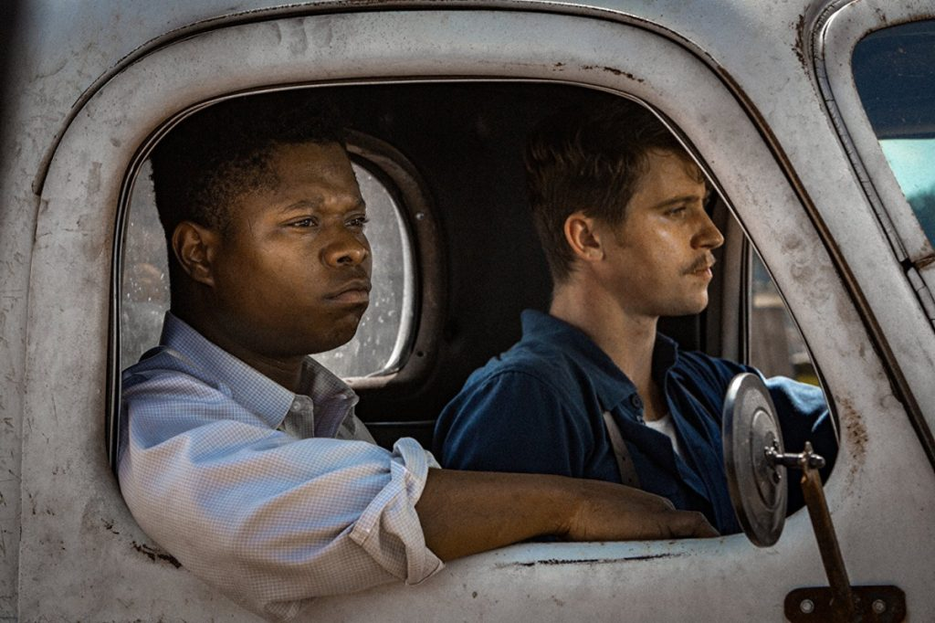 "Jason Mitchell, left, and Garrett Hedlund in""Mudbound,"" set in the post-war 1940s, when segregation was the law of the land and the civil rights movement had yet to ignite."