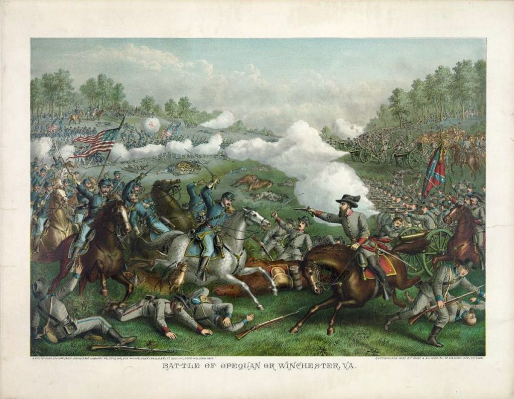 A lithograph captures the fierce fighting between Union and Confederate troops during the Third Battle of Winchester, in which over 230 Maine men were killed. Maine Monument Fund is trying to raise $2,000 to build a monument in their honor.