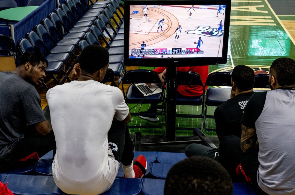 For pro basketball players, watching video has become an important ingredient of improving their games and looking for advantages against opponents. That's why the Maine Red Claws take time at the Portland Expo to prepare for their next game.