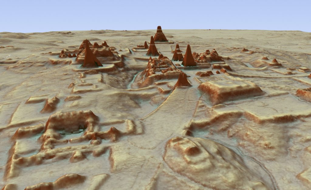Digital 3D image provided by Guatemala's Mayan Heritage and Nature Foundation shows a depiction of the Mayan site at Tikal in Guatemala created using aerial mapping technology.