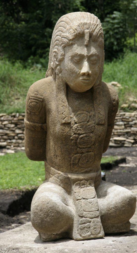 A 1,300-year-old limestone sculpture of a captured Mayan warrior.