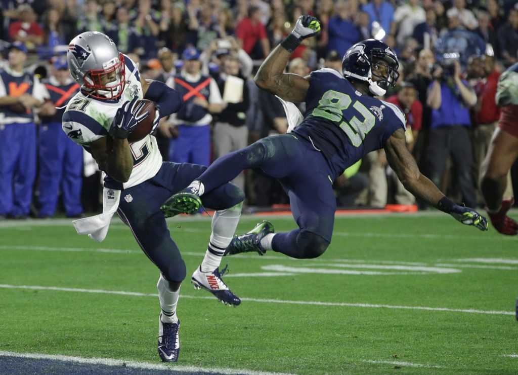 The play of plays. Seattle stunningly decided to pass for the final yard to win the 2015 Super Bowl, but Malcolm Butler of the Patriots came down with the ball, not Seattle receiver Ricardo Lockette. Thank you very much.