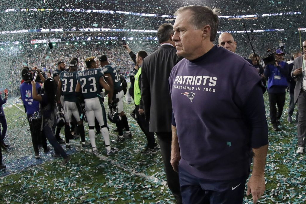 New England Patriots head coach Bill Belichick walks off the field after losing Super Bowl LII to the Philadelphia Eagles on Sunday in Minneapolis