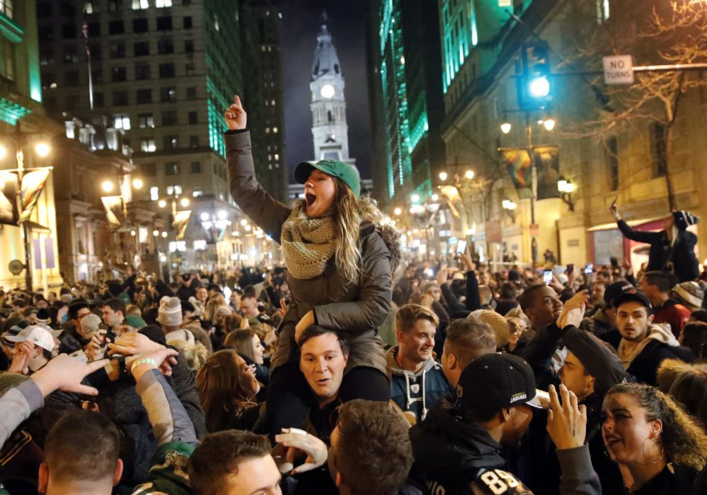 Philadelphia Eagles fans celebrate the team's victory in the NFL Super Bowl 52 between the Eagles and the New England Patriots on Sunday in downtown Philadelphia.