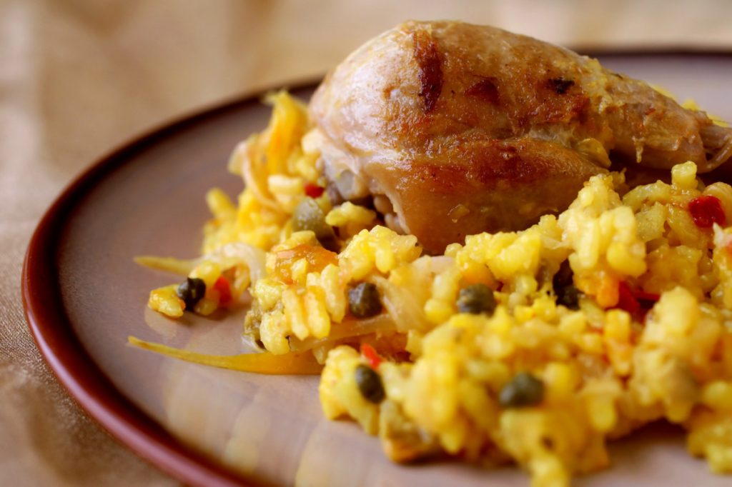 Chicken with Saffron Rice. To serve, place a chicken thigh and drumstick, with some of the rice mixture, on each of four dinner plates. Add Tabasco sauce if you like.