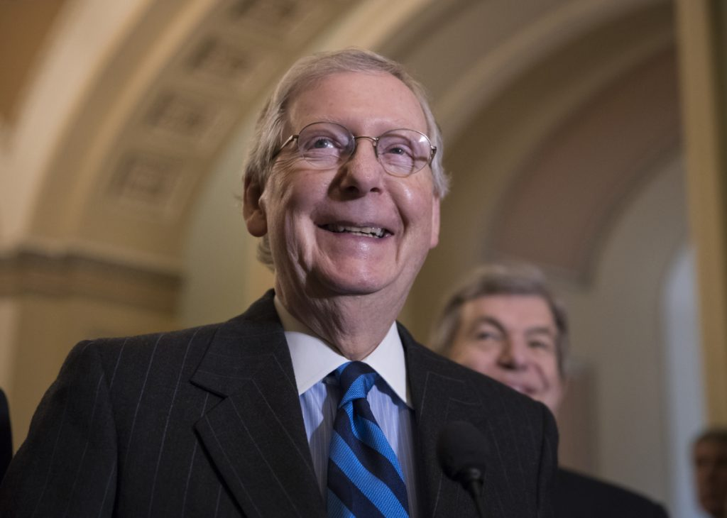 Senate Majority Leader Mitch McConnell, R-Kentucky, meets with reporters Tuesday as Senate leaders work on a budget deal that was announced Wednesday.
