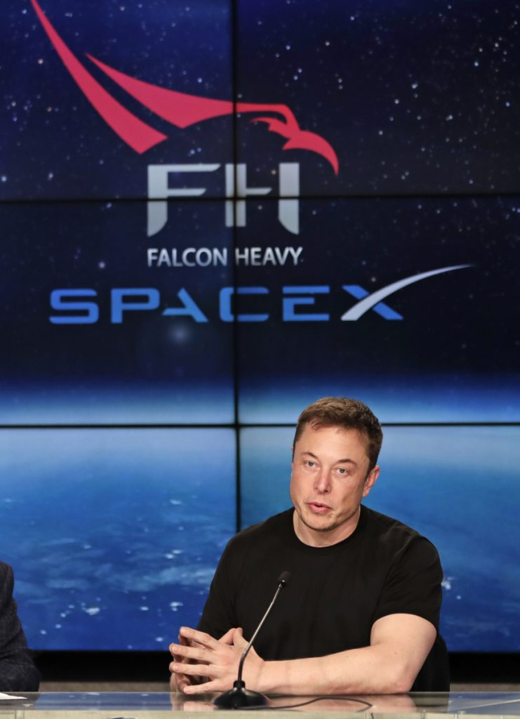 Elon Musk, founder and CEO of SpaceX, attends a news conference after the rocket launch from the Kennedy Space Center in Cape Canaveral, Fla., on Tuesday.