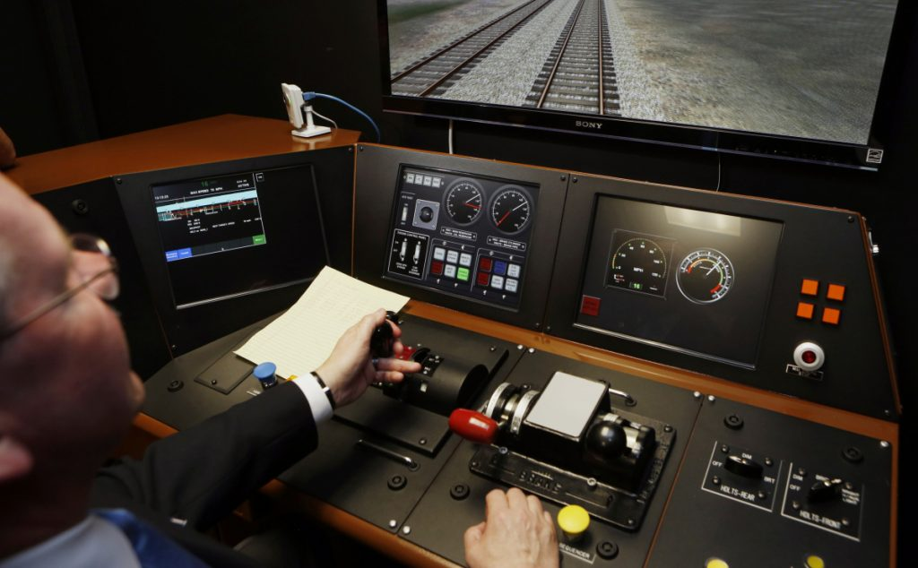 A Positive Train Control (PTC) panel at the Metrolink Locomotive and Cab Car Simulators training facility in Los Angeles' Union Station.